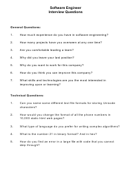 """Sample Software Engineer Interview Questions"""