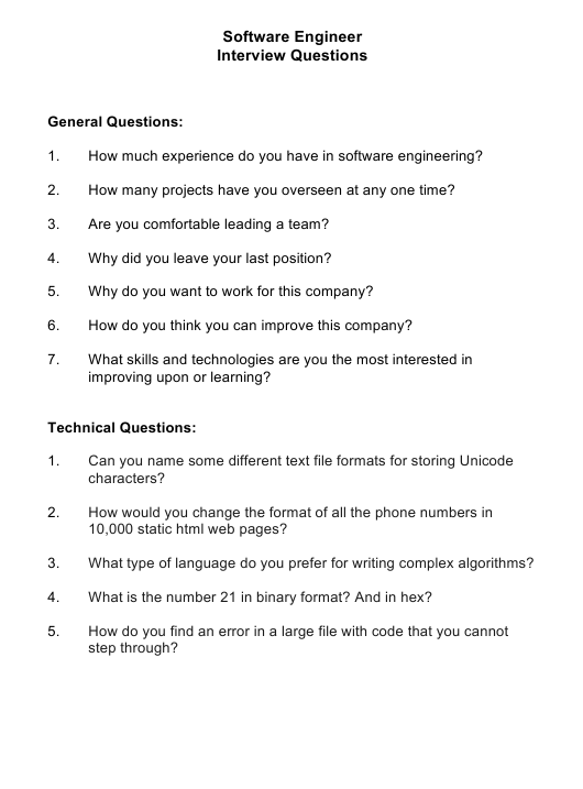 """""""Sample Software Engineer Interview Questions"""" Download Pdf"""