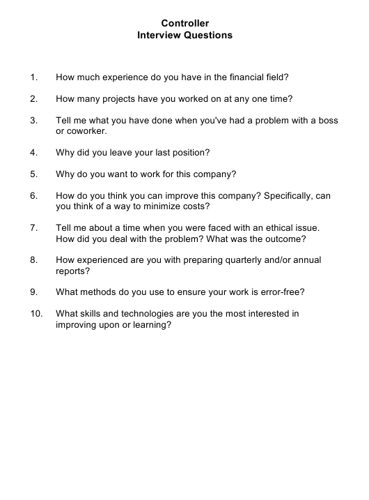 """""""Sample Controller Interview Questions"""" Download Pdf"""