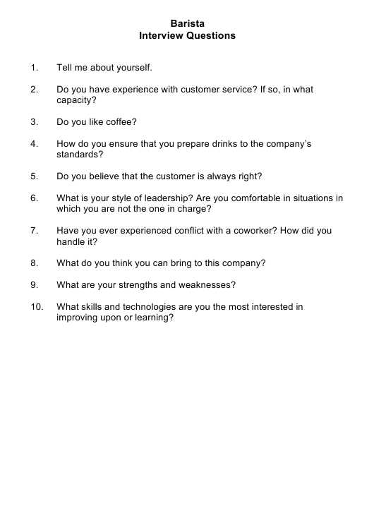 sample barista interview questions download printable pdf