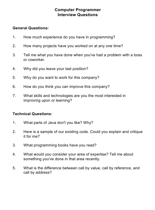 """""""Sample Computer Programmer Interview Questions"""" Download Pdf"""