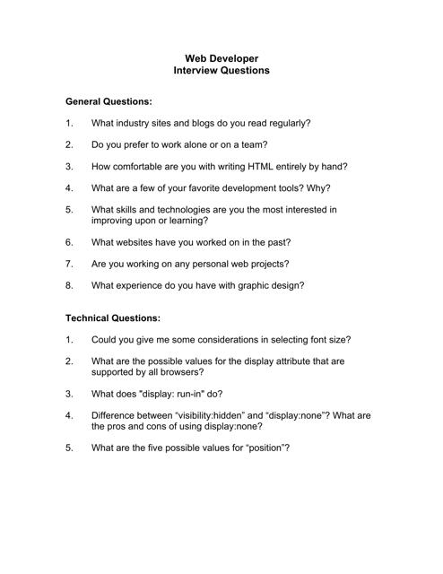 """Sample Web Developer Interview Questions"" Download Pdf"