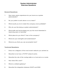 """Sample System Administrator Interview Questions"""