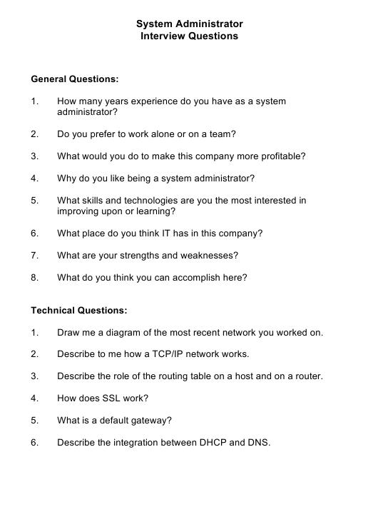 """""""Sample System Administrator Interview Questions"""" Download Pdf"""