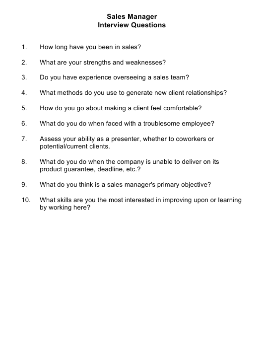 """Sample Sales Manager Interview Questions"" Download Pdf"