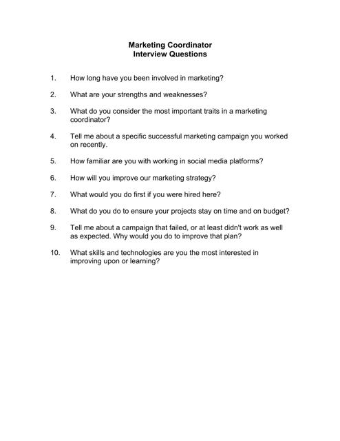 """Sample Marketing Coordinator Interview Questions"" Download Pdf"