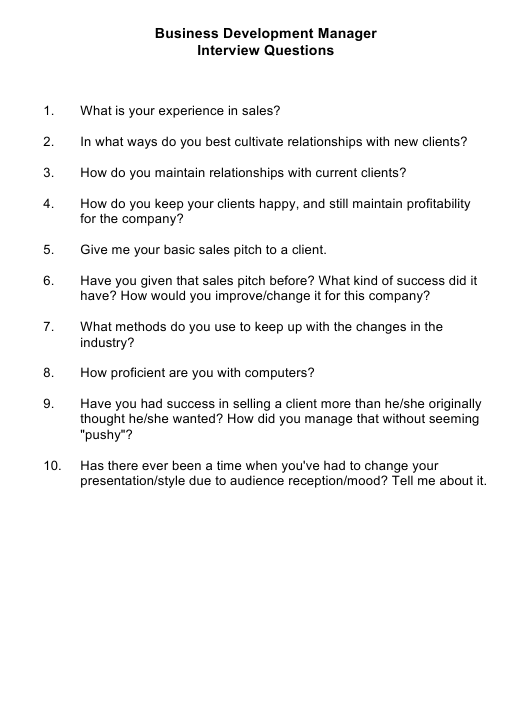 """Sample Business Development Manager Interview Questions"" Download Pdf"
