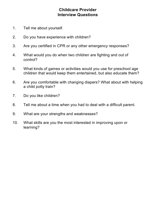 """""""Sample Childcare Provider Interview Questions"""" Download Pdf"""