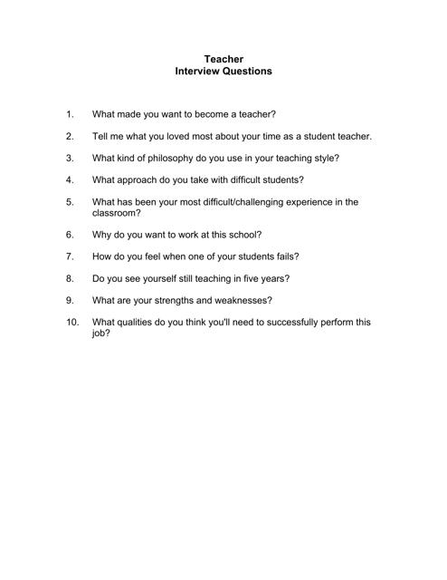 """Sample Teacher Interview Questions"" Download Pdf"