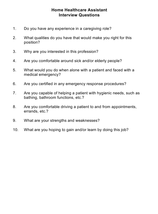 """Sample Home Healthcare Assistant Interview Questions"" Download Pdf"