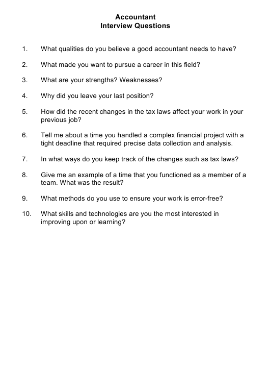 """""""Sample Accountant Interview Questions"""" Download Pdf"""