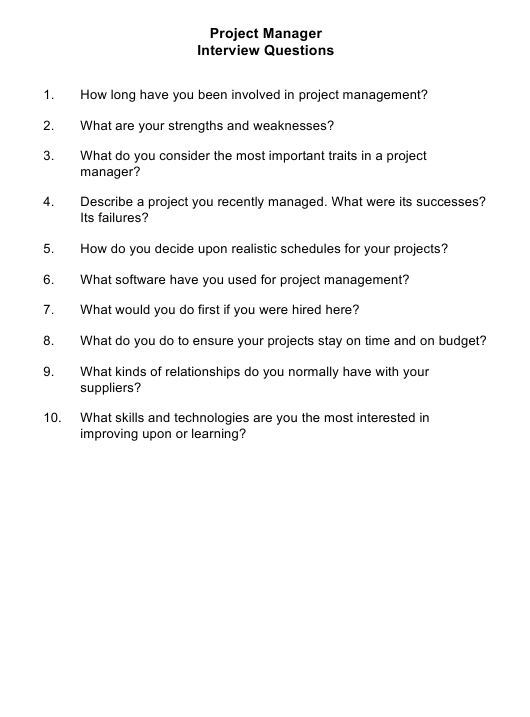 """Sample Project Manager Interview Questions"" Download Pdf"