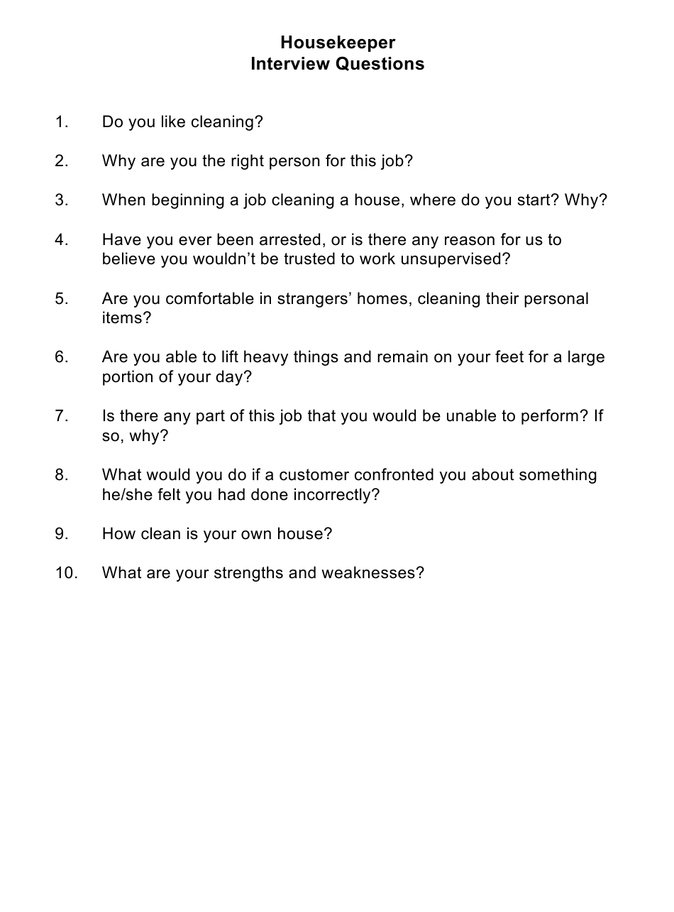 Sample Housekeeper Interview Questions Download Printable Pdf Templateroller