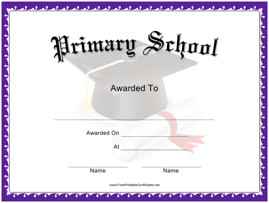 """Primary School Award Certificate Template"" Download Pdf"