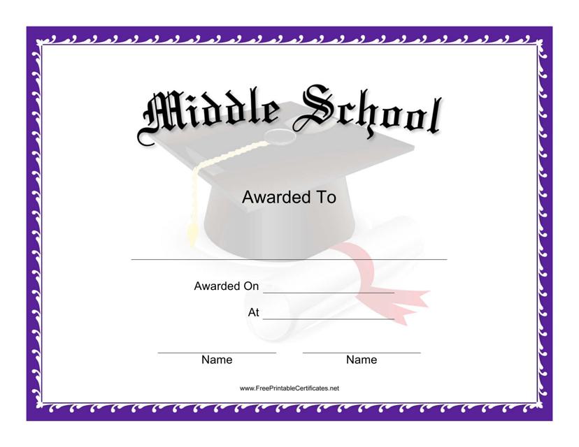 """Middle School Award Certificate Template"" Download Pdf"