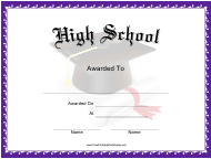 """High School Award Certificate Template"""