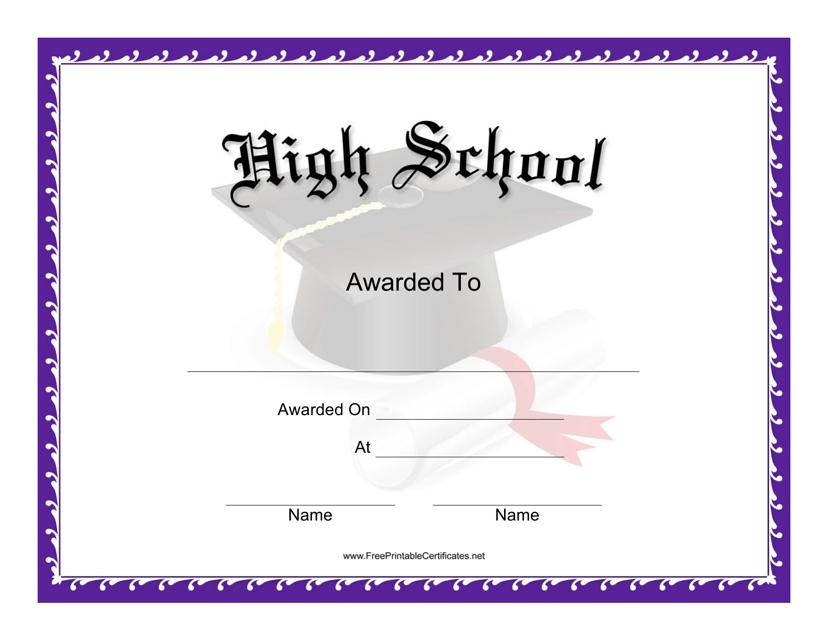 """High School Award Certificate Template"" Download Pdf"