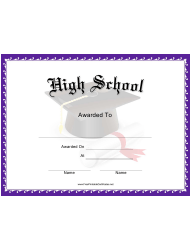 High School Award Certificate Template