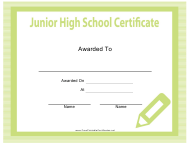 """Junior High School Certificate Template"""