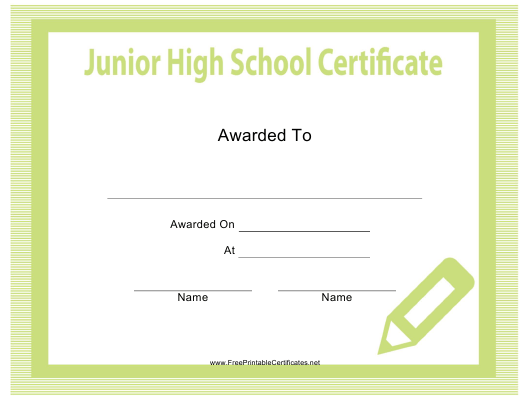 """Junior High School Certificate Template"" Download Pdf"