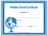 """Blue Middle School Certificate Template"""