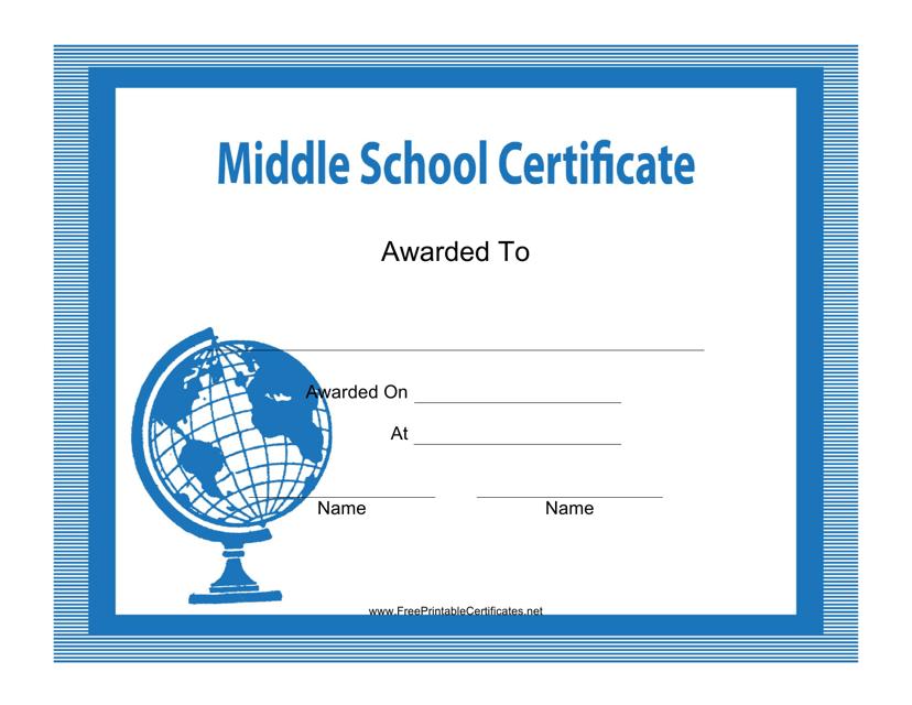 """Blue Middle School Certificate Template"" Download Pdf"