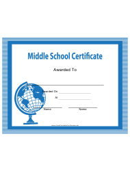 Blue Middle School Certificate Template