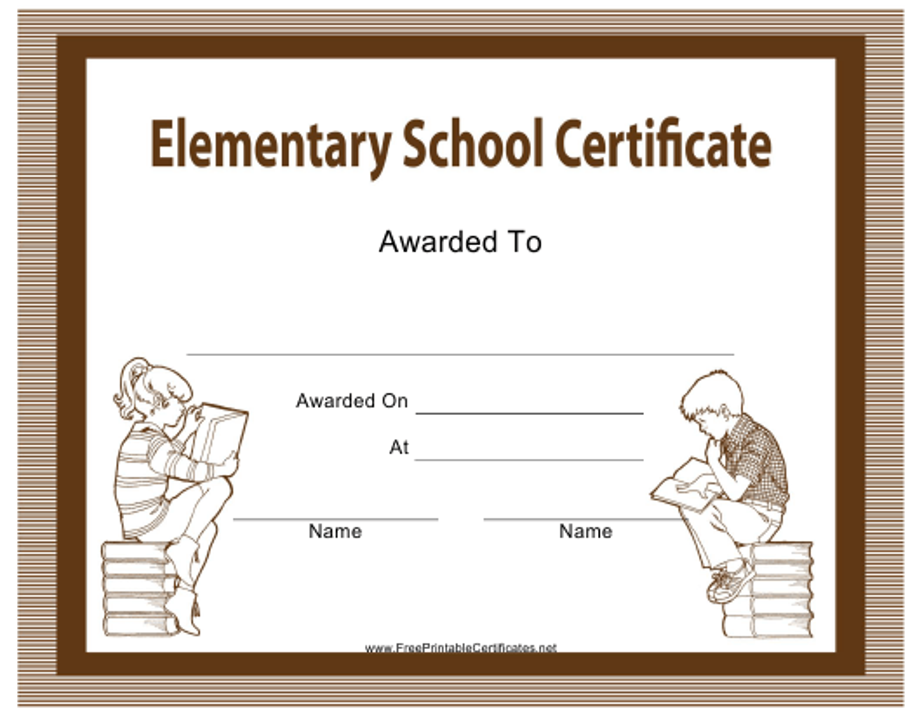 """Elementary School Certificate Template"" Download Pdf"