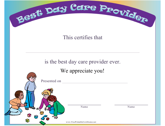 """""""Colorful Best Day Care Provider Certificate Template"""" Download Pdf"""