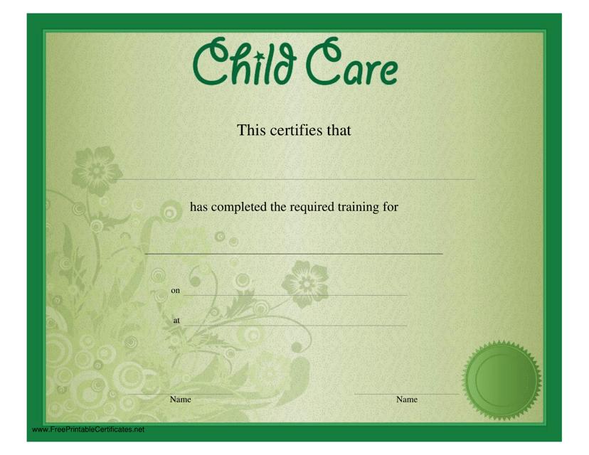"""Green Child Care Certificate Template"" Download Pdf"