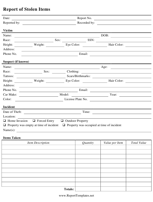 """Stolen Item Report Template"" Download Pdf"