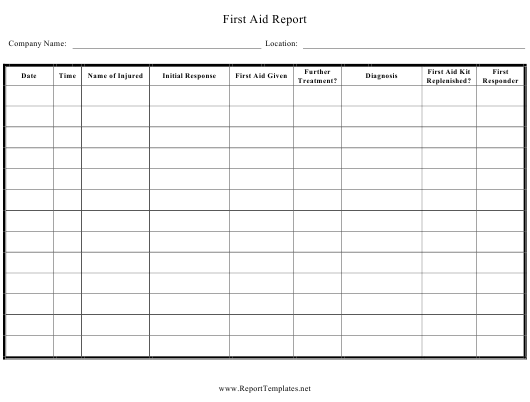 """""""First Aid Report Spreadsheet Template"""" Download Pdf"""
