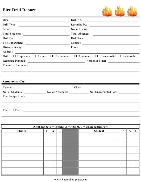 """Fire Drill Report Template"" Download Pdf"