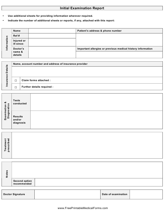"""""""Initial Examination Report Template"""" Download Pdf"""