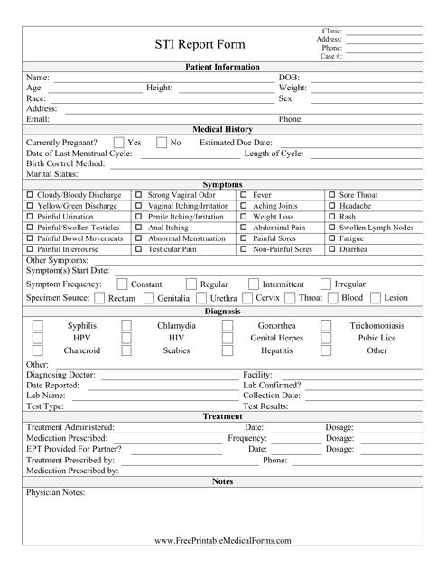 """""""Sti Report Form"""" Download Pdf"""