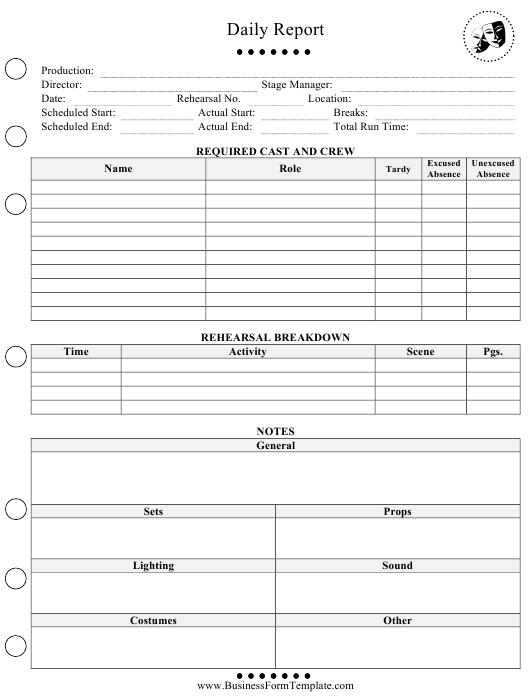 """Daily Report Template"" Download Pdf"