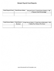 Simple Payroll Cost Report Template