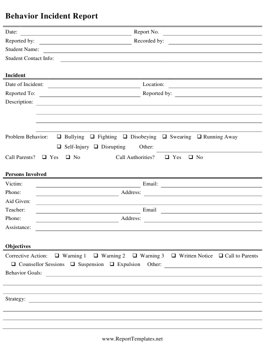 """Behavior Incident Report Form"" Download Pdf"