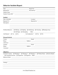 Behavior Incident Report Form