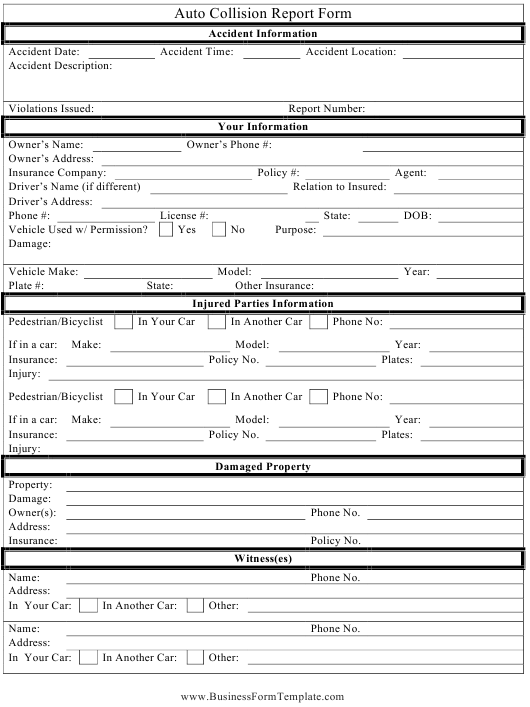 """Auto Collision Report Form"" Download Pdf"