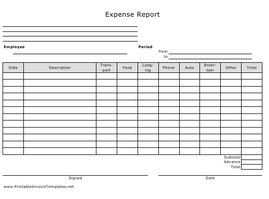 """Expense Report Spreadsheet Template"" Download Pdf"