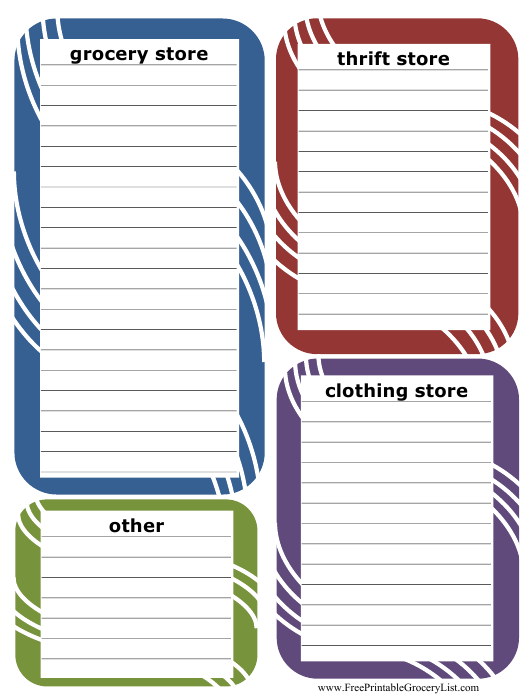 Multiple Stores Shopping List Template Download Pdf