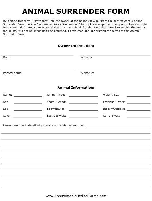 """Animal Surrender Form"" Download Pdf"