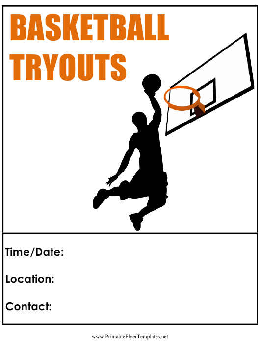 """Basketball Tryouts Flyer Template"" Download Pdf"