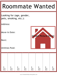 """Roommate Wanted Flyer Template With Picture Box"""