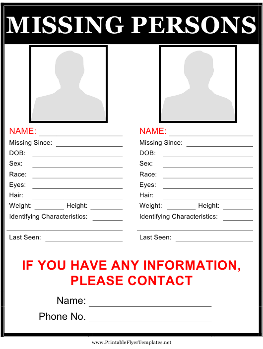 """""""Black Missing Person Poster Template With Two Pictures"""" Download Pdf"""