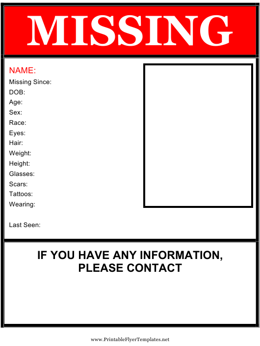 Missing poster templates pdf download fill and print for free red missing person poster template maxwellsz