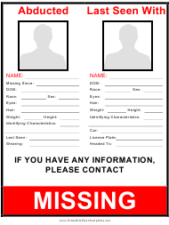 """Abducted Missing Person Poster Template"""