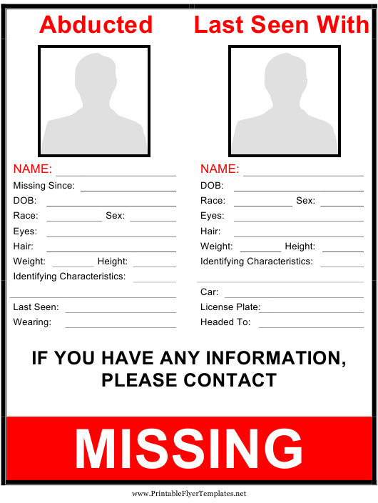 """Abducted Missing Person Poster Template"" Download Pdf"