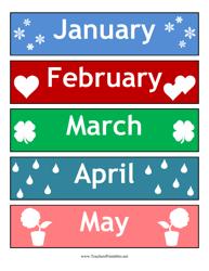 Calendar Months Cards Template